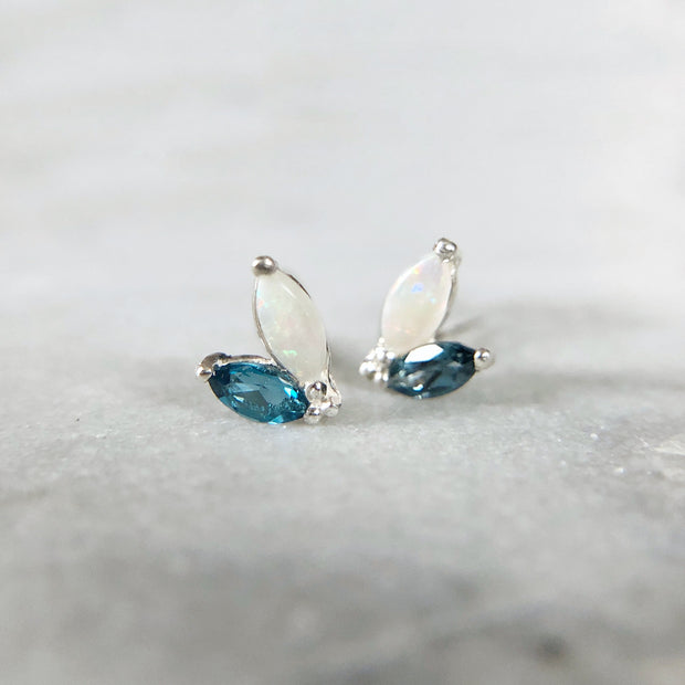 Laurelette Gemstone Earrings - Sterling with Opal & Topaz