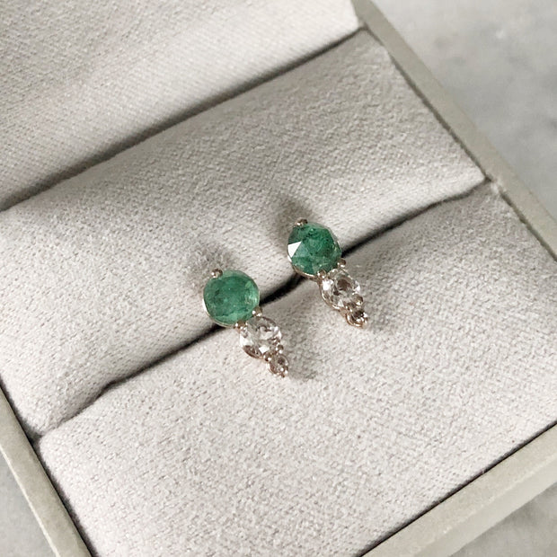 Trio Gemstone Earrings - 14k White Gold, Emerald & White Topaz
