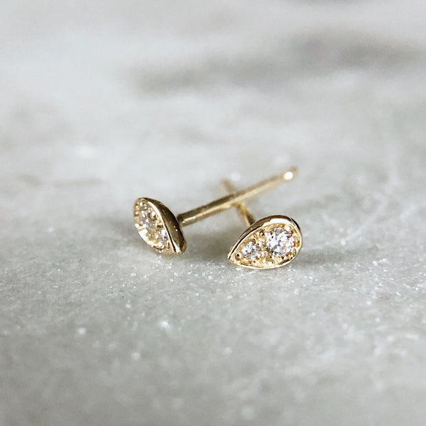 Tiny Dewdrop Earrings - 14k yellow gold with white diamonds