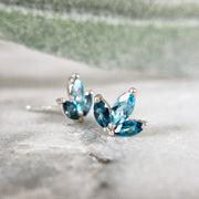 Ivy Leaf Gemstone Earrings - Sterling & Blue Topaz