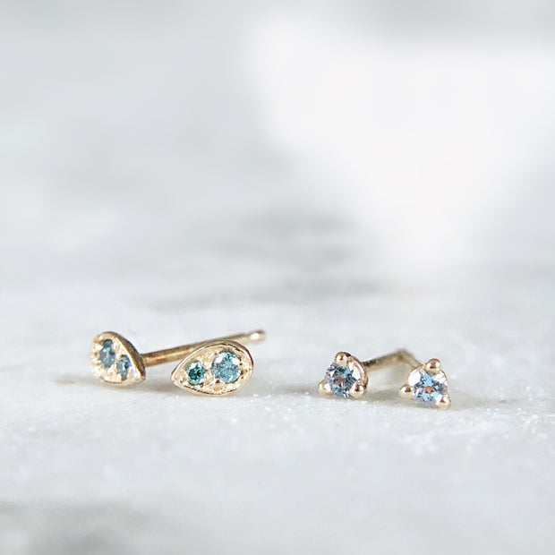 Tiny Dewdrop Earrings - 14k yellow gold with blue diamonds