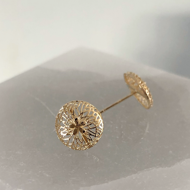 One of a Kind - 14k Gold Sand Dollar Studs