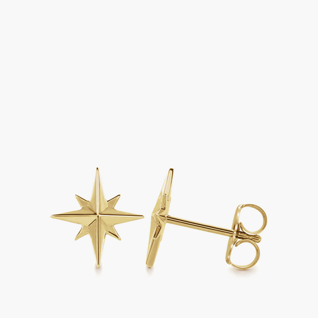 Compass Star Studs - 14k Yellow Gold