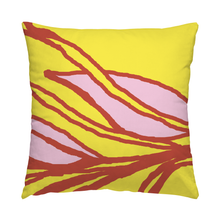 Botanical cotton twill throw pillow