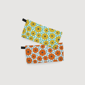 Mod Flowers Anything Pouch: Yellow & Orange
