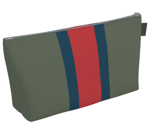 Stripe Toiletry Bag: <br> Moss, Sea Blue, Red