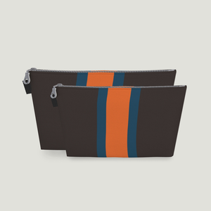 Stripe Toiletry Bag: <br> Chocolate Brown, Sea Blue, Clementine