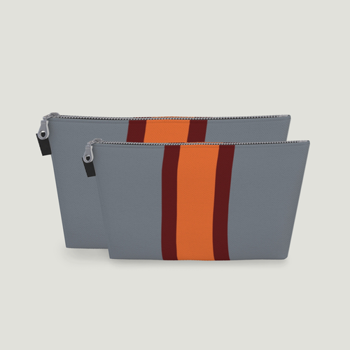 Stripe Toiletry Bag: <br> Grey, Burgendy, Clementine