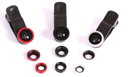 Phone Camera Lens Kit w/ Fish Eye + Wide Angle + Macro Lens
