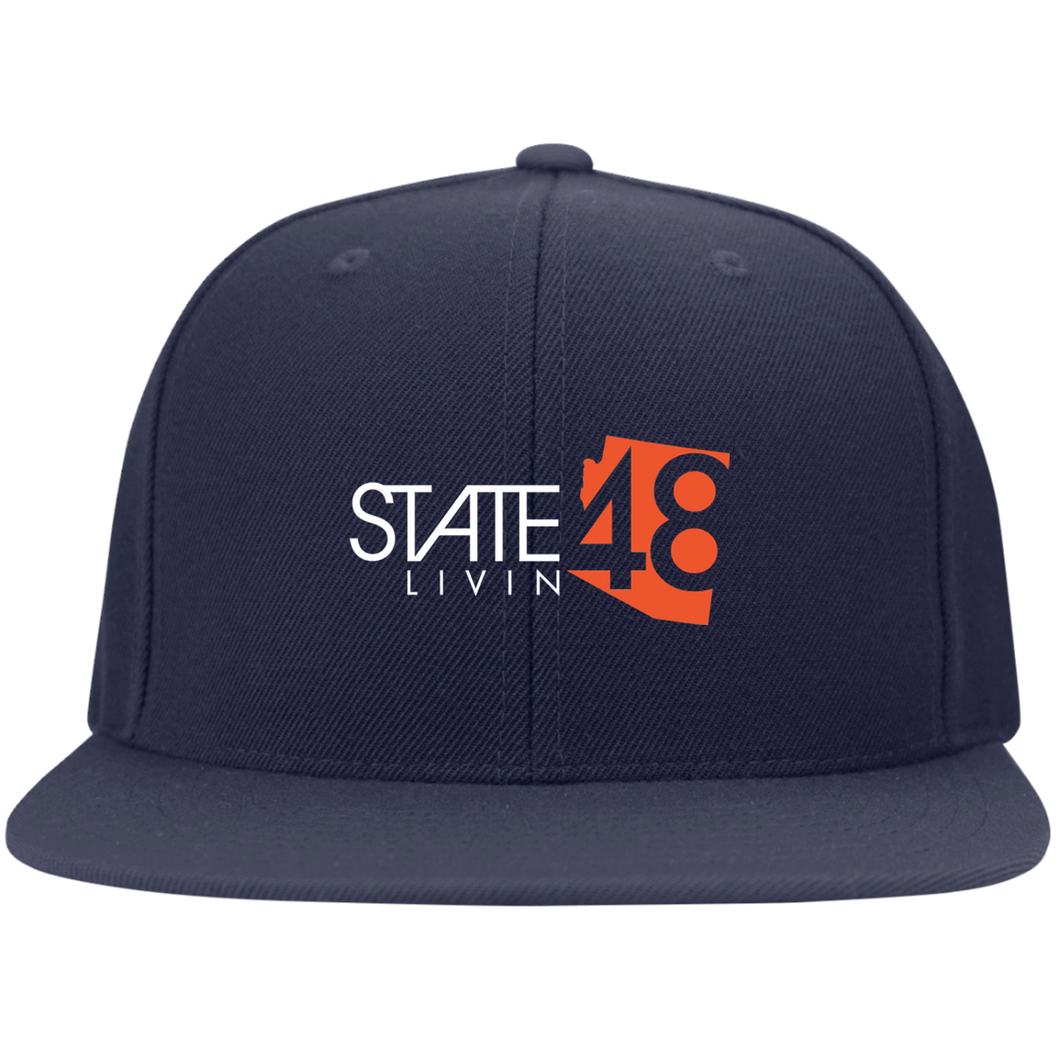 State 48 Livin Navy / Orange Flat Bill Flexfit Hat