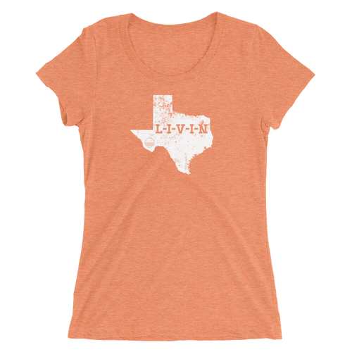 Texas LIVIN White Logo Ladies' short sleeve t-shirt (13 colors available) - State Of Livin