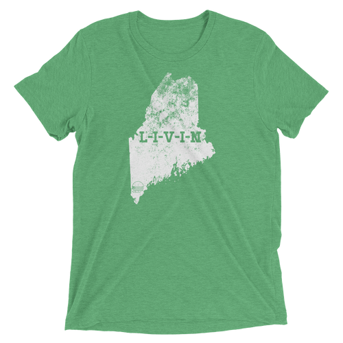 Maine LIVIN Green and White Short sleeve t-shirt - State Of Livin