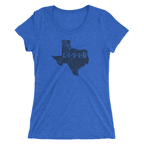 Texas LIVIN Navy Logo Ladies' short sleeve t-shirt (12 colors available) - State Of Livin