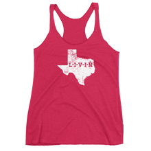 Texas LIVIN White Logo Women's Racerback Tank (13 colors available) - State Of Livin