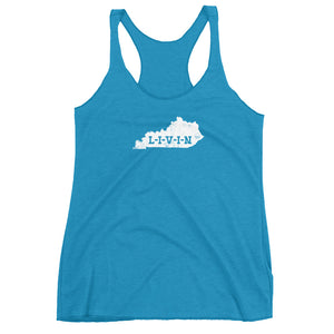 Kentucky LIVIN White Logo Women's Racerback Tank (10 colors available) - State Of Livin