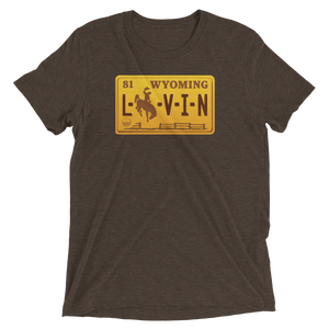 Wyoming LIVIN Brown Retro License Plate Short sleeve t-shirt - State Of Livin
