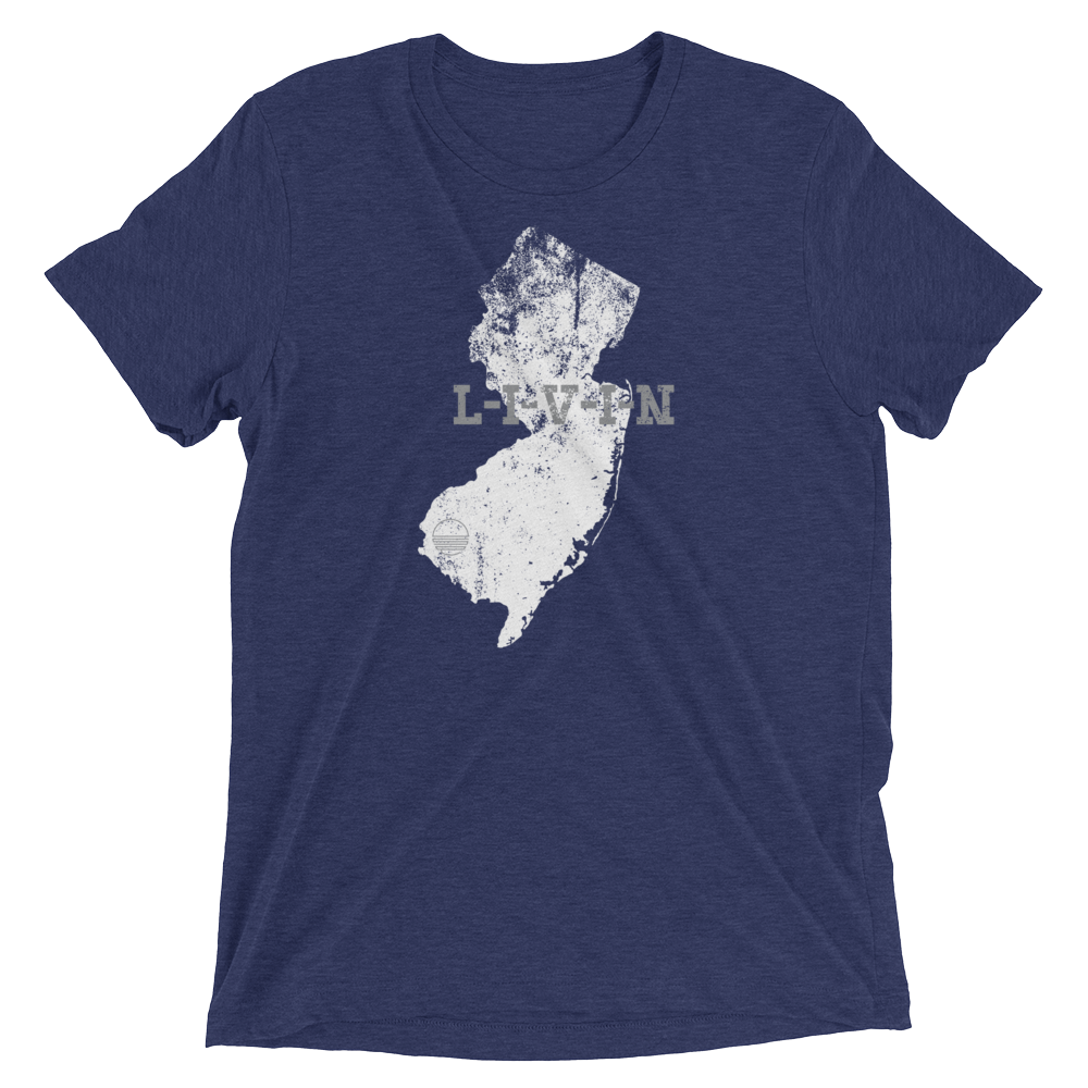 New Jersey LIVIN Navy, White, Grey Short sleeve t-shirt - State Of Livin