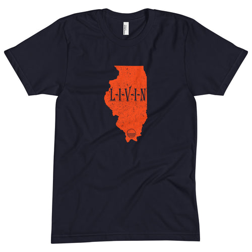 Illinois GAME DAY LIVIN Navy Unisex Crew Neck Tee - State Of Livin