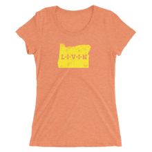 Oregon LIVIN Yellow Logo Ladies' short sleeve t-shirt (12 colors available) - State Of Livin