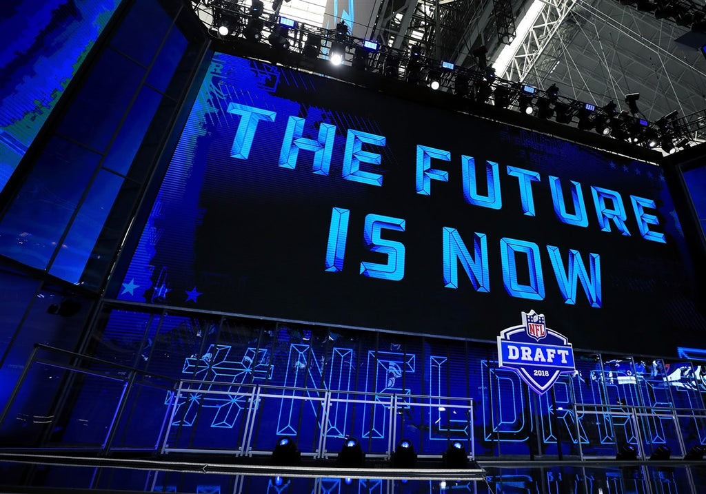 Billboard saying 'the future is now' from the NFL Draft in 2018