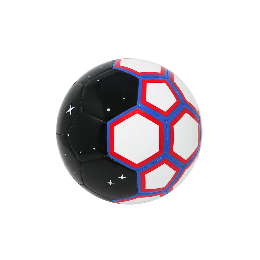 CHANCE Galaxy Soccer Ball Black White Red Blue View 1
