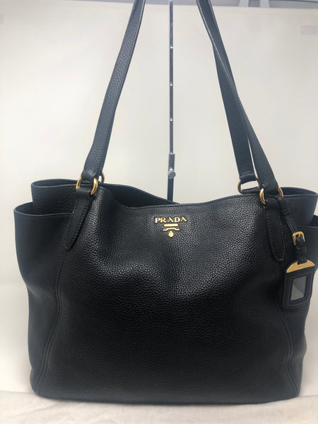 PRADA BLACK VITELLO DAINO TOTE