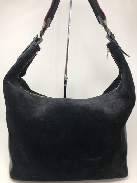 BURBERRY SUEDE HOBO LARGE