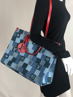LOUIS VUITTON ONTHEGO DENIM TOTE AND CITY POUCH