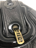 FENDI TEXTURED LEATHER B DOUBLE BUCKLE FLAP BAG