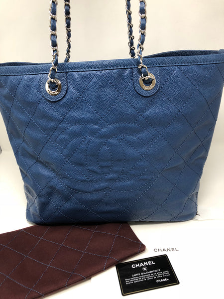 CHANEL NAVY QUILTED TOTE