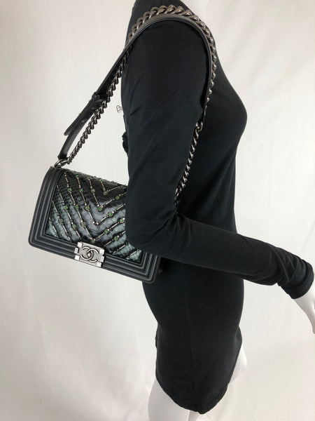 CHANEL BLACK BEADED BOY BAG