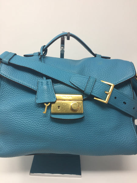 PRADA SATCHEL TEAL
