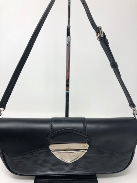 LOUIS VUITTON BLACK EPI MONTAIGNE HANDBAG