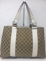 GUCCI SIGNATURE TOTE LARGE BROWN CANVAS WHITE LEATHER