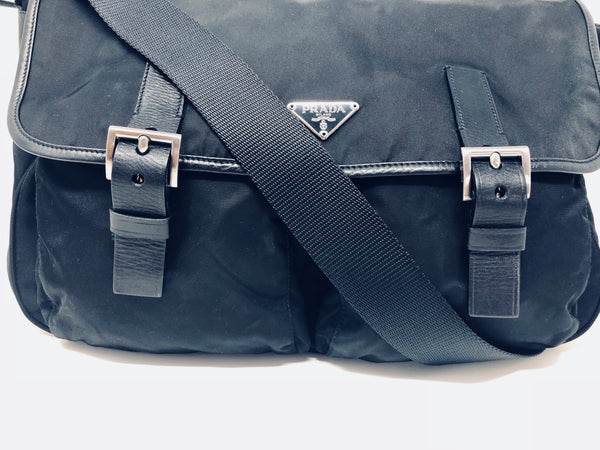 PRADA VELA BUCKLED MESSENGER