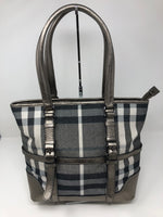 BURBERRY SILVER PLAID HANDBAG