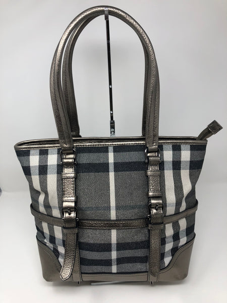 BURBERRY SILVER PLAID HANDBAG - UP TO 70% OFF AT UPTOWN! 77a85576e9874