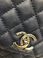 CHANEL NAVY QUILTED CAVIAR KELLY HANDLE HANDBAG