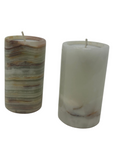 NATURAL MARBLED 2 PIECE TEA LIGHT CANDLE HOLDERS