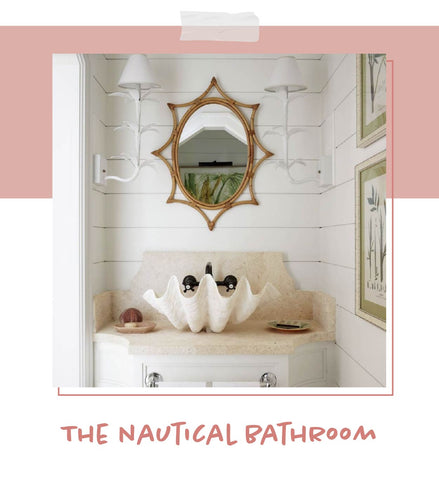 nautical bathroom with jen sconce by Tom Scheerer