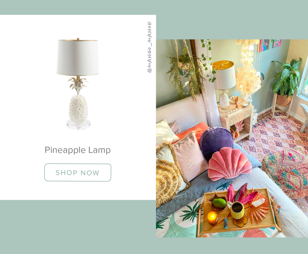 Stray Dog Designs Pineapple Table Lamp in a Bedroom Designed by @mango_manor