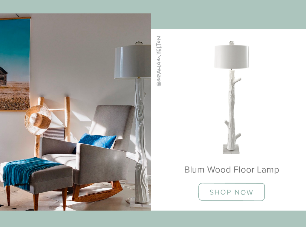 Stray Dog Designs Blum Wood Floor Lamp in a living room designed by Graham Yelton