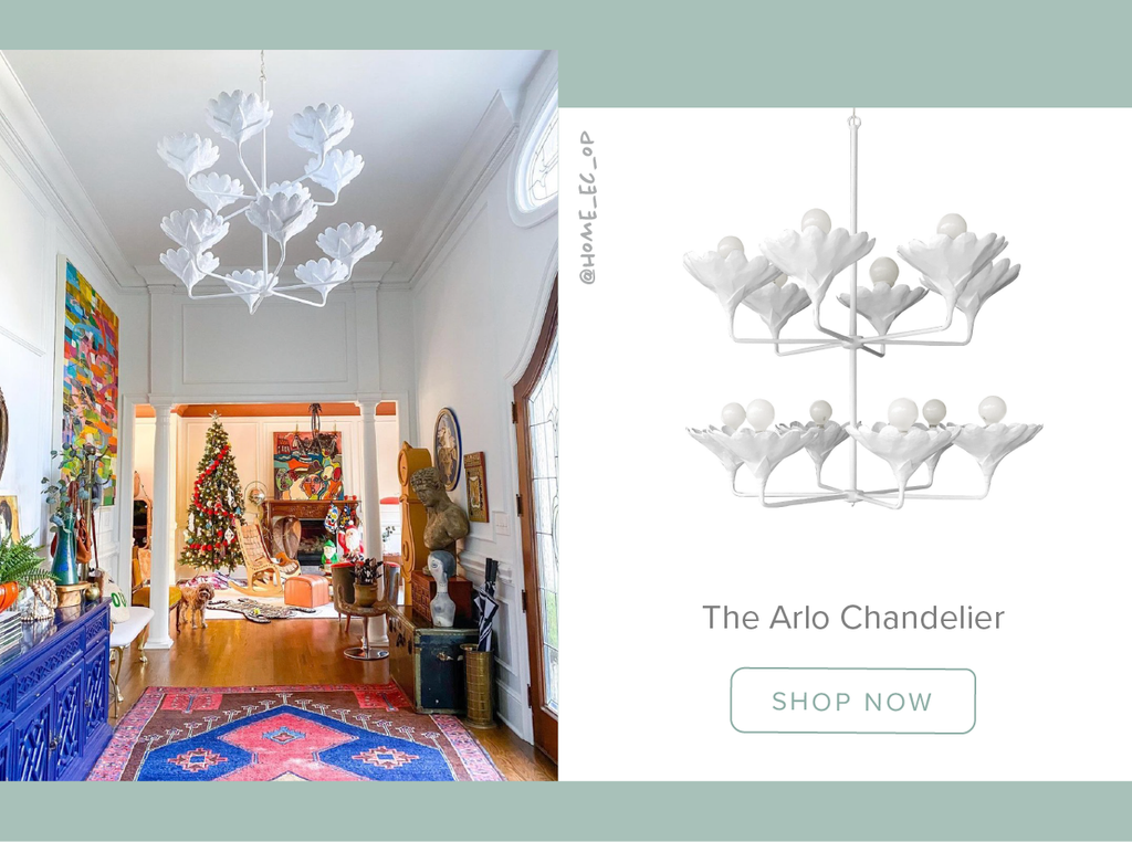 Stray Dog Designs Arlo Chandelier in an entryway designed by @home_ec_op Natalie Papier