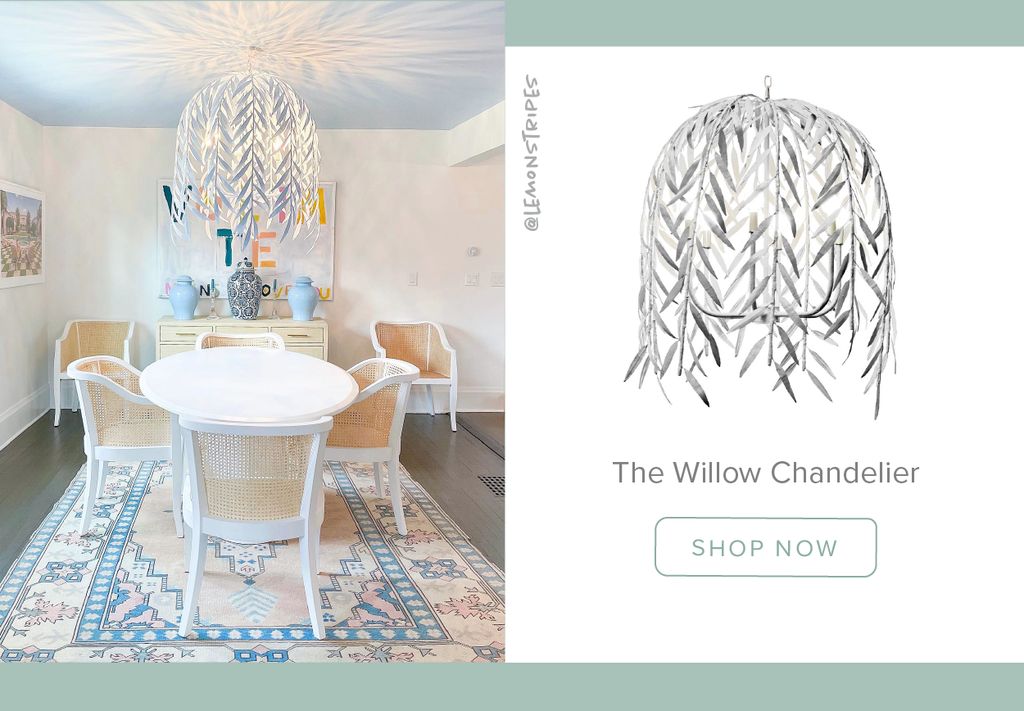Stray Dog Designs Willow Chandelier in a dining room in @lemonstripe's home designed by Molly Patton Designs