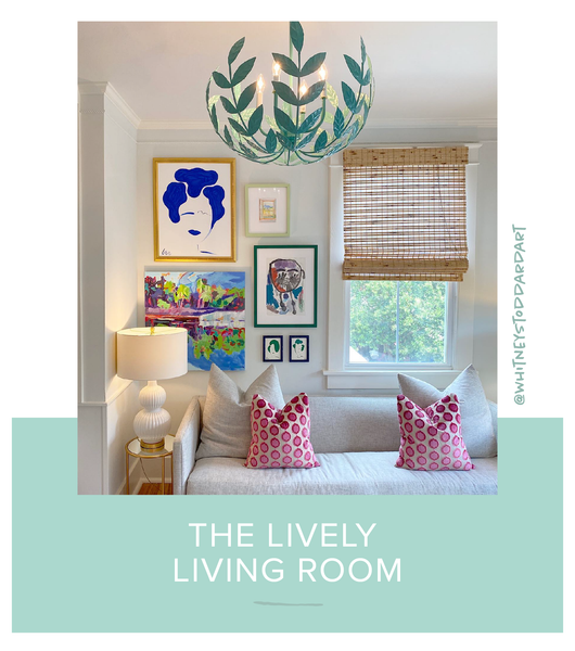 Stray Dog Designs Leonora Chandelier in a living room designed by Whitney Stoddard Art