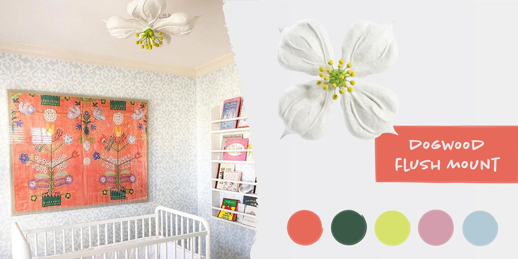 Stray Dog Designs Dogwood Flush Mount in a nursery designed by Progeny Interiors