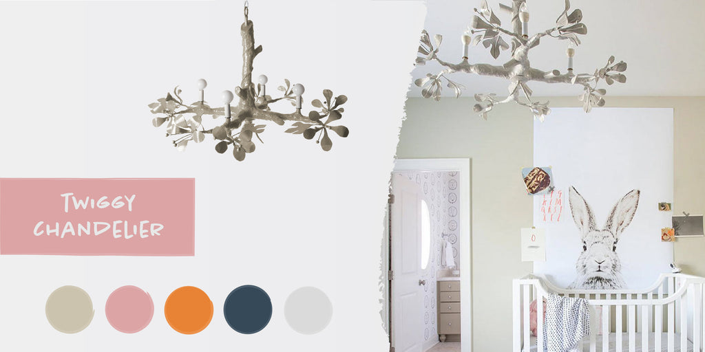 Stray Dog Designs Twiggy Chandelier in a nursery designed by Lisa Sherry Interieurs