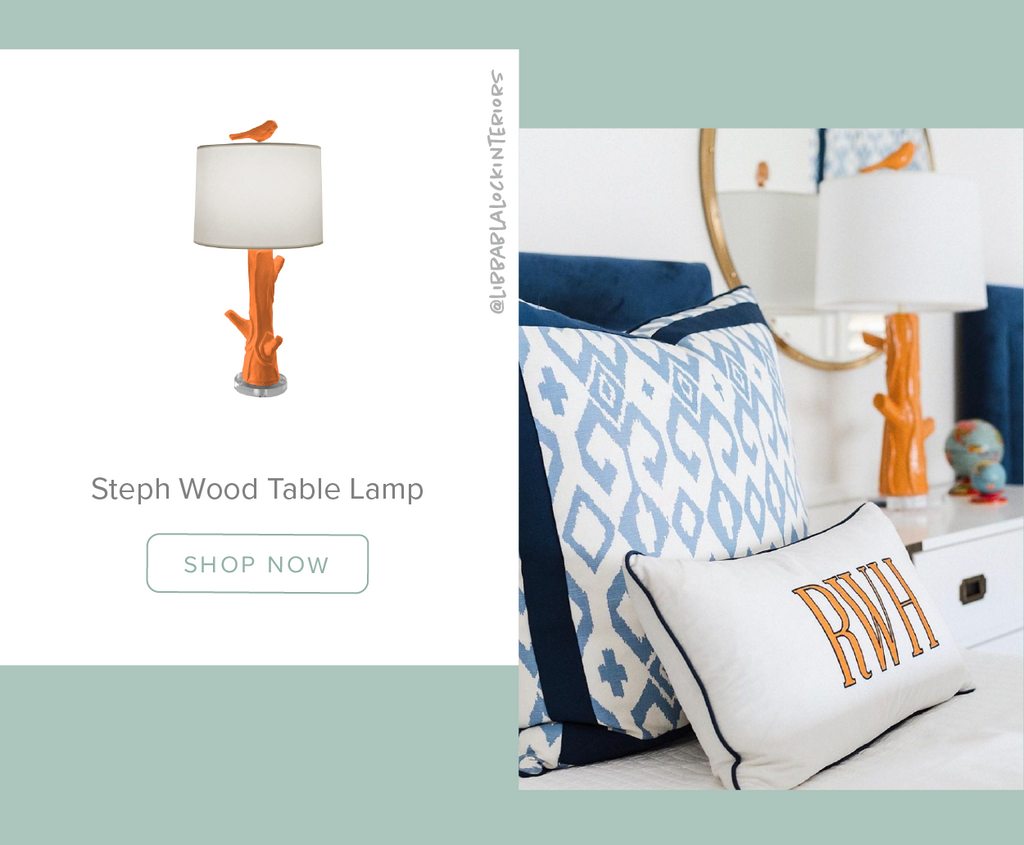 Stray Dog Designs Steph Wood Table Lamp in a bedroom designed by @libbablalockinteriors