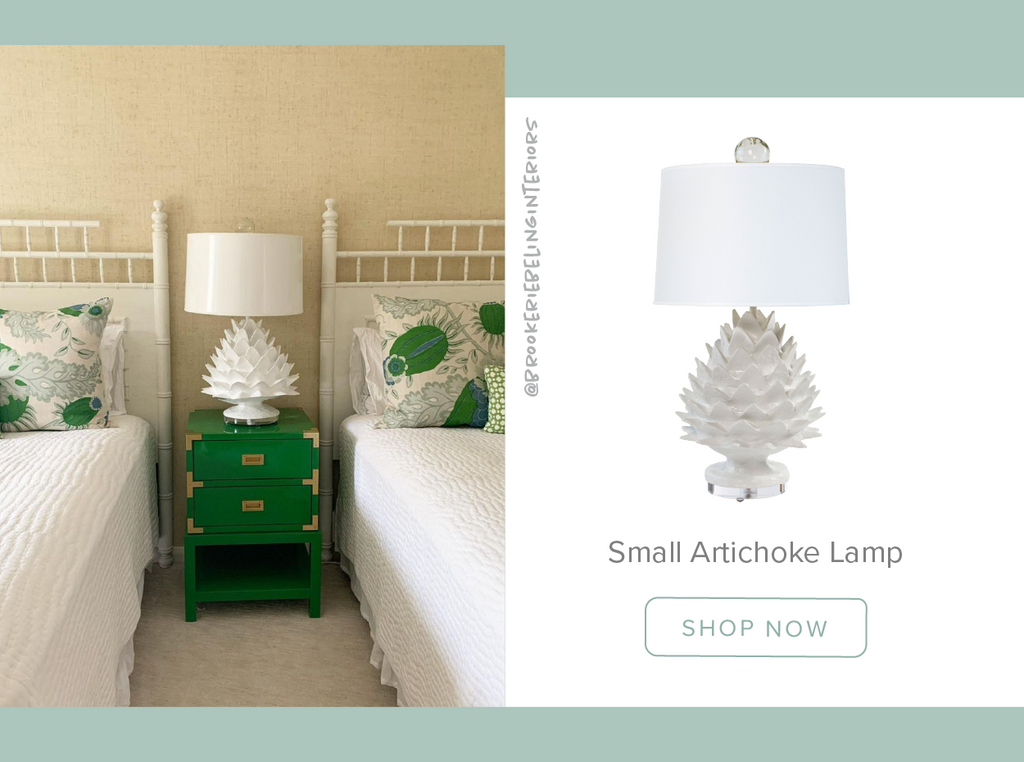 Stray Dog Designs Artichoke Table Lamp in a bedroom designed by @brookeriebelinginteriors