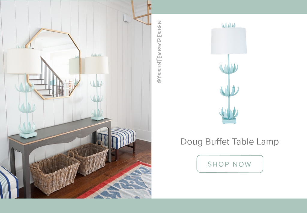 Stray Dog Designs Doug Buffet Table Lamp in an entryway designed by YSS Interior Design